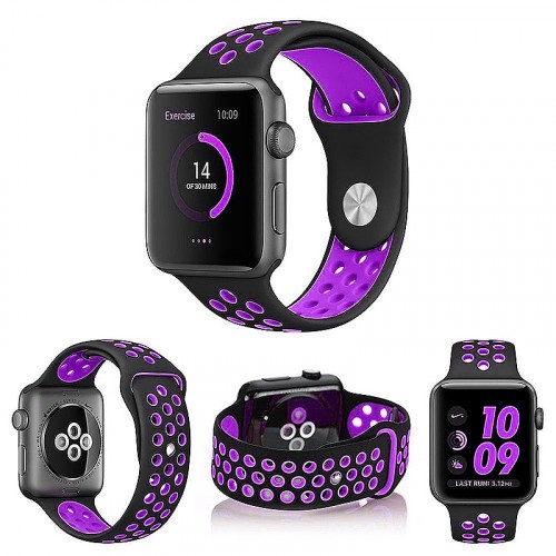 Apple Rubberized Watch Band 38/40 MM Color-Black/Purple