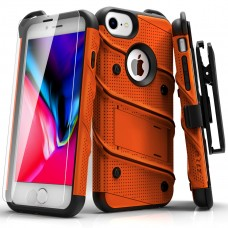 FOR IPHONE 8 / IPHONE 7 / 6S / 6 4.7IN - BOLT COVER W/ KICKSTAND, HOLSTER, TEMPERED GLASS SCREEN PROTECTOR, LANYARD - Orange & Black