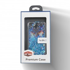 Glitter Liquid PS Case For Iphone 6/7/8 Design-Flower/Blue