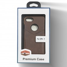 Leather Case With Credit Card Slot For Iphone 6/7/8 Color-Brown